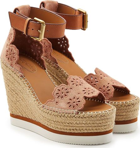 See By Chloé Espadrille Wedges with Leather and Suede