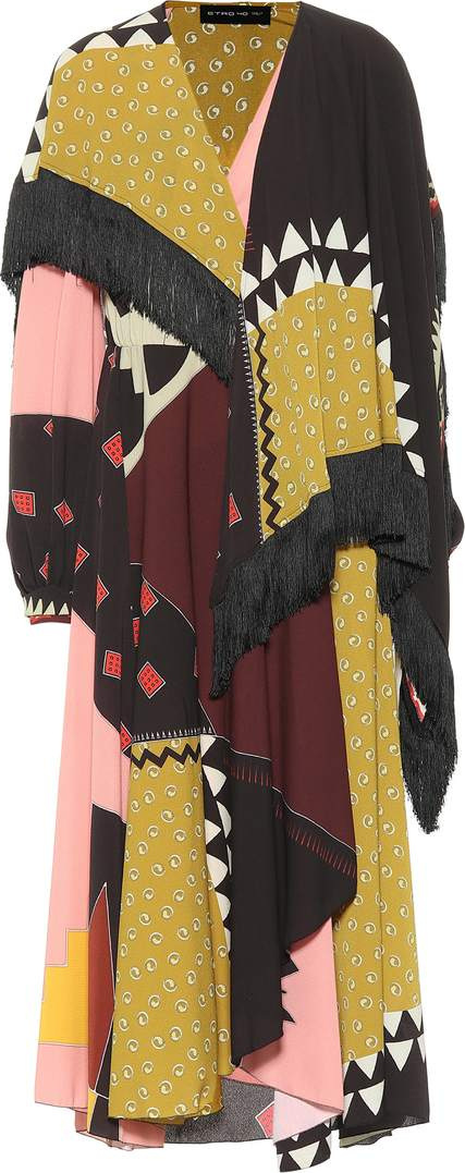 Etro Printed crêpe dress with fringe