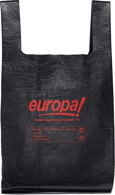 Balenciaga 'Supermarket Shopper' slogan print medium leather tote bag