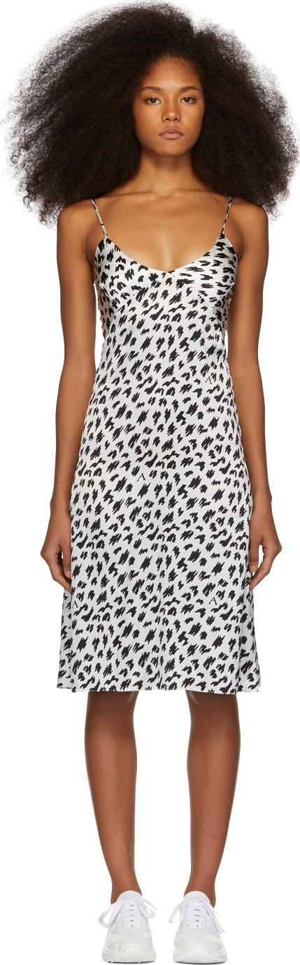 Ashley Williams SSENSE Exclusive White & Black Silk Slip Dress