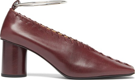 Jil Sander Whipstitched square-toe leather pumps