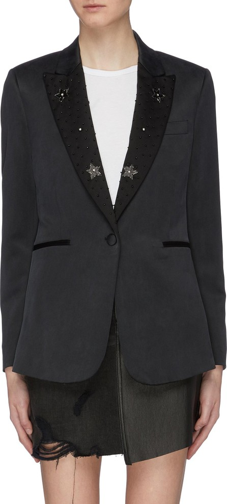 Amiri Beaded peaked lapel silk blazer