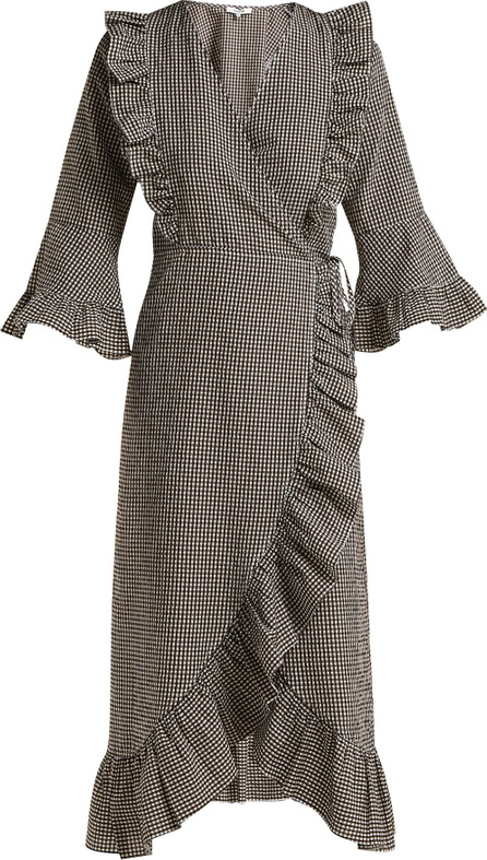 Ganni Charron gingham cotton-blend wrap dress