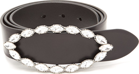 Saint Laurent Crystal-embellished buckle leather belt