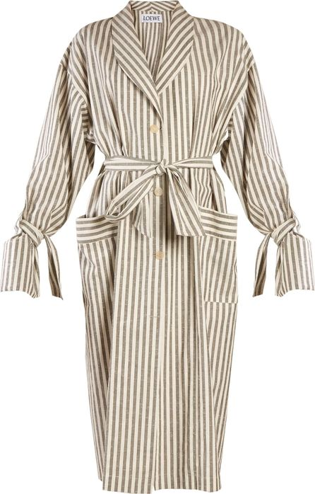 LOEWE Tie-waist striped-cotton coat