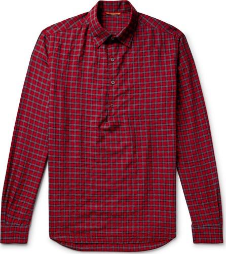 Barena Checked Cotton-Blend Twill Half-Placket Shirt