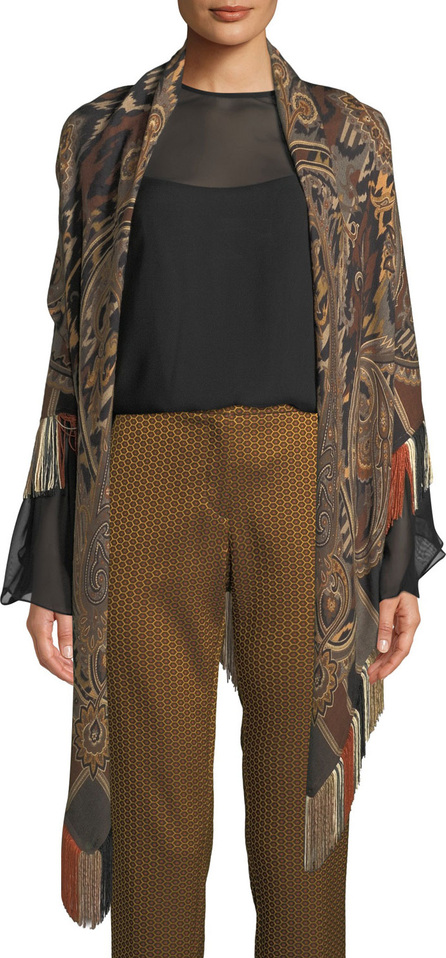 Etro Paisley Wrap w/ Multicolored Fringe Trim