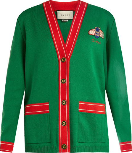 Gucci Bee-embroidered cotton and cashmere-blend cardigan