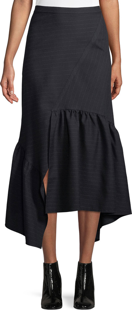 3.1 Phillip Lim Asymmetric Pinstripe Ruffle Midi Skirt
