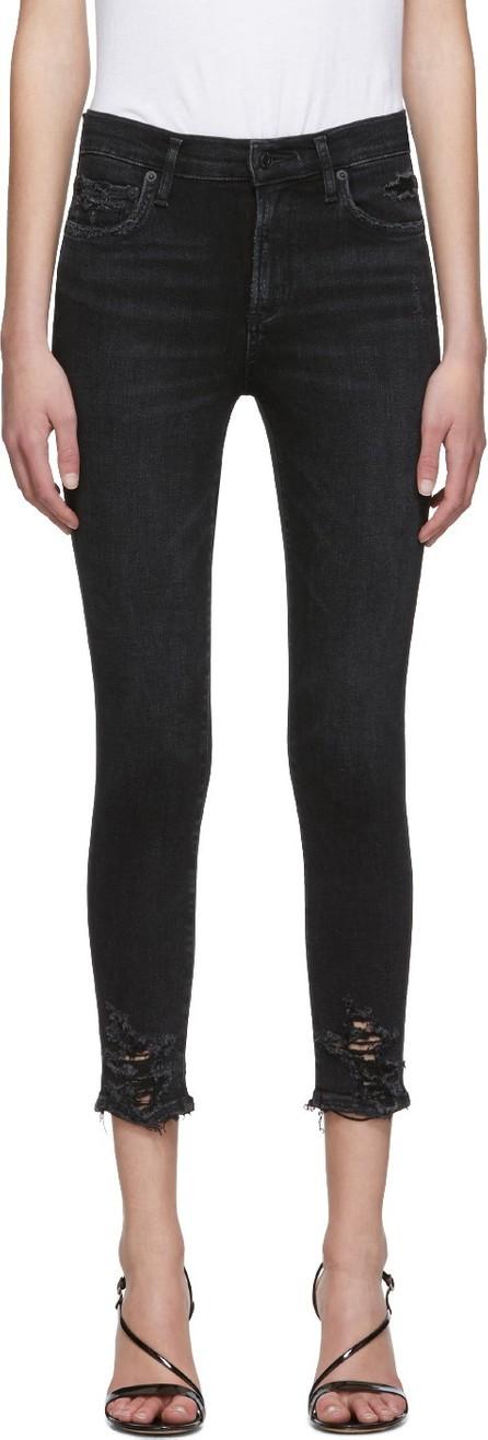 Agolde Black Sophie Hi Rise Crop Skinny Jeans
