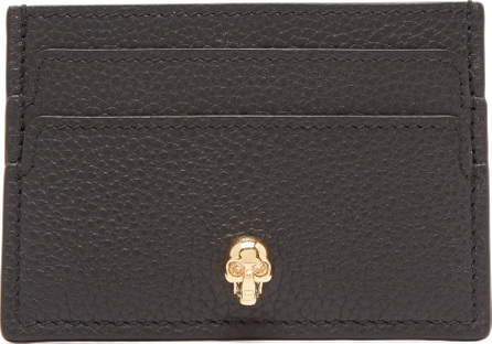Alexander McQueen Skull-embellished grained-leather cardholder