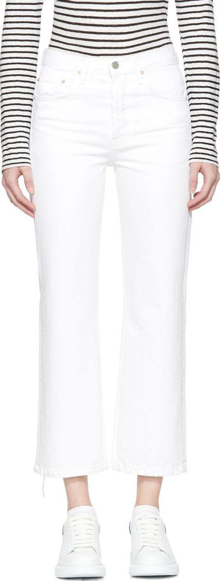 Grlfrnd White Linda Pop Crop Jeans
