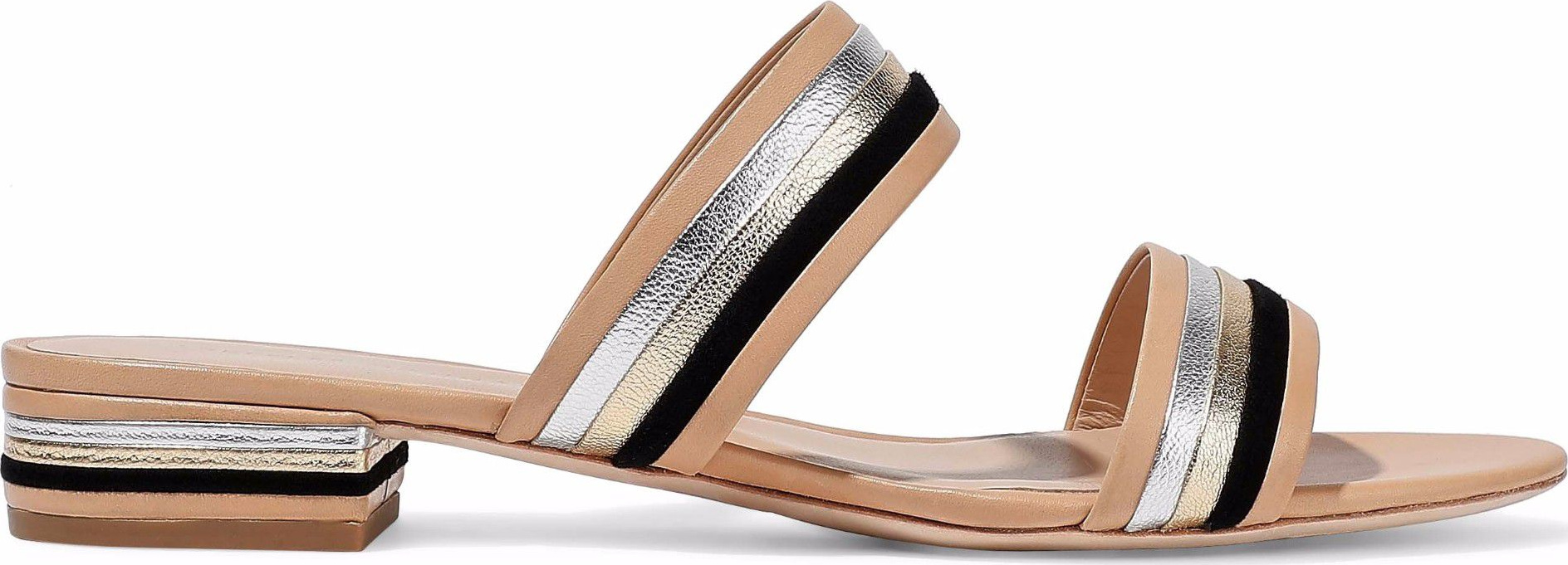 a0ead7d389b Loeffler Randall Rubie suede-trimmed matte and metallic leather sandals