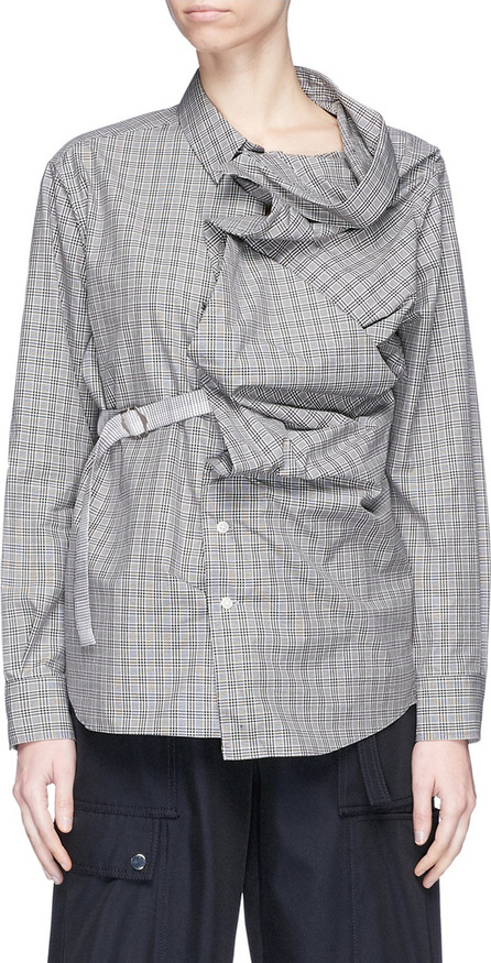 FACETASM Convertible belted drape placket check plaid shirt