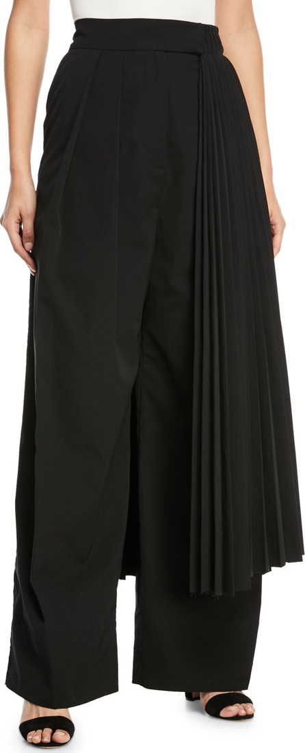 A.W.A.K.E Wide-Leg Pants with Pleated Half Skirt Detail