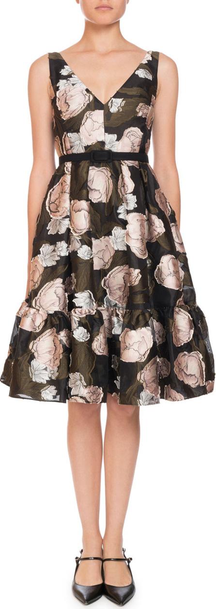 Erdem Gaby Peony Floral-Print Organza Dress W/Pockets