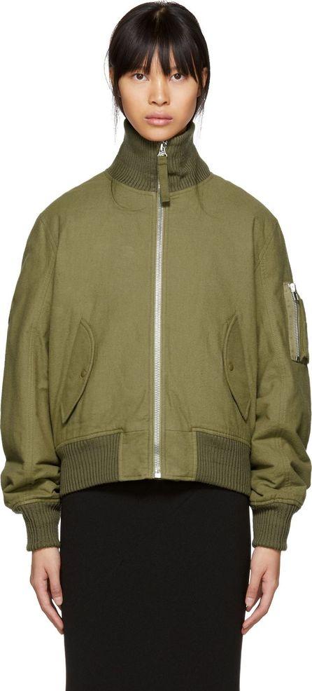 Helmut Lang Green Re-Edition High Collar Bomber Jacket