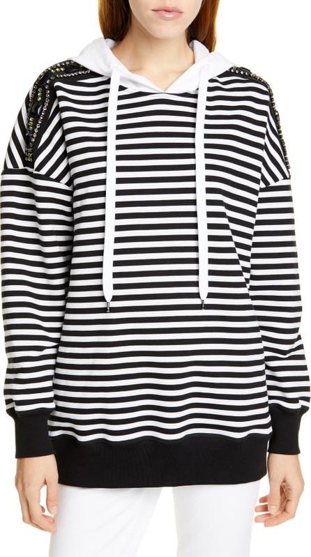 N°21 Nº21 Stripe Embellished Shoulder Hoodie