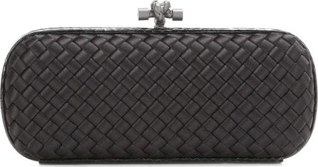 Bottega Veneta Stretch Knot intrecciato satin and snakeskin box clutch