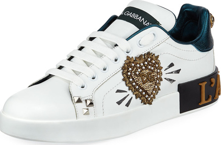 Dolce & Gabbana Amore Patchwork Leather Low-Top Sneakers