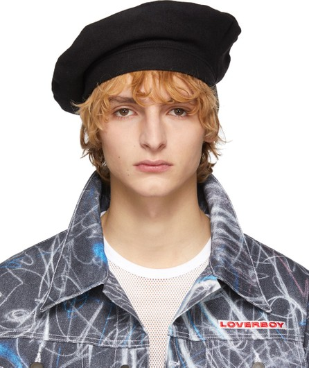 Charles Jeffrey Loverboy Black Wool Beret
