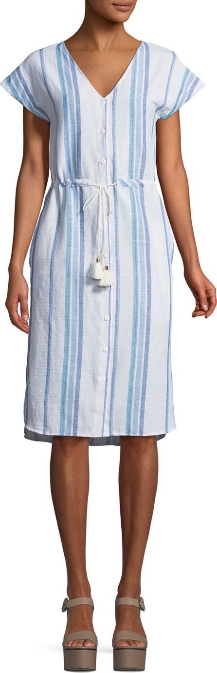 Splendid Tapestry Stripe Button-Front V-Neck Dress