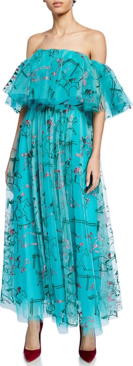Carolina Herrera Off-the-Shoulder Equestrian-Print Long Cocktail Dress