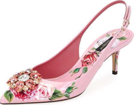 Dolce & Gabbana Jeweled Floral-Print Patent Leather Slingback Pump