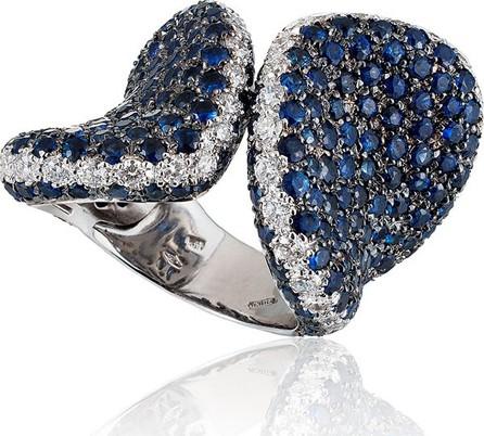Andreoli 18k White Gold Blue Sapphire & Diamond Ring