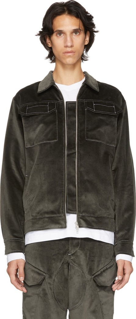 Affix Grey Velvet Zip Service Jacket