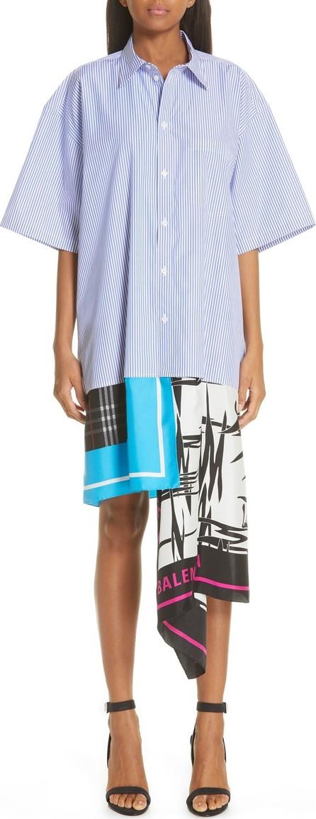 Balenciaga Scarf Hem Stripe Poplin Shirtdress