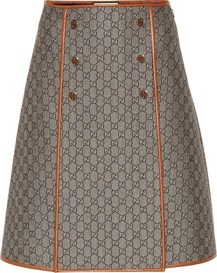 Gucci GG leather-trimmed skirt