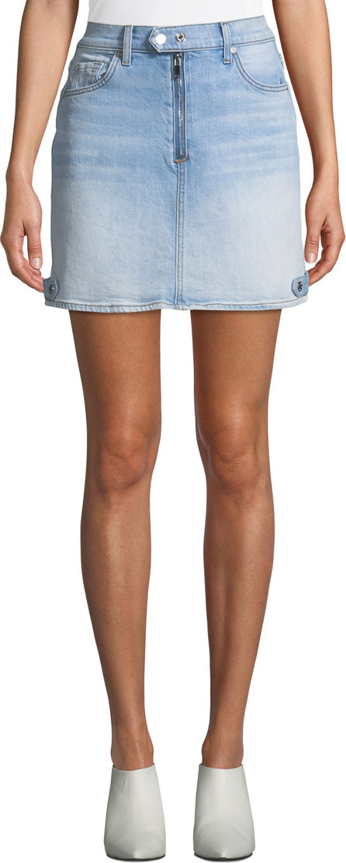 7 For All Mankind Moto A-Line Light-Wash Denim Mini Skirt