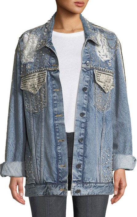 AO.LA by alice + olivia Oversized Embellished Denim Jacket