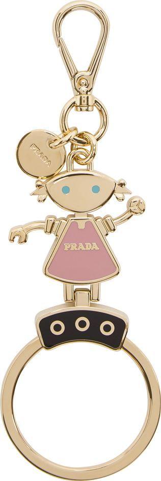 Prada Gold & Pink Robot Doll Keychain