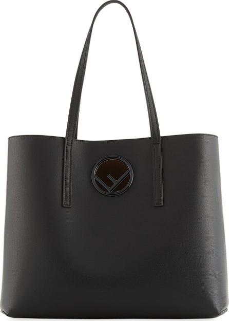 Fendi F Logo Calf Leather Shopping Tote Bag