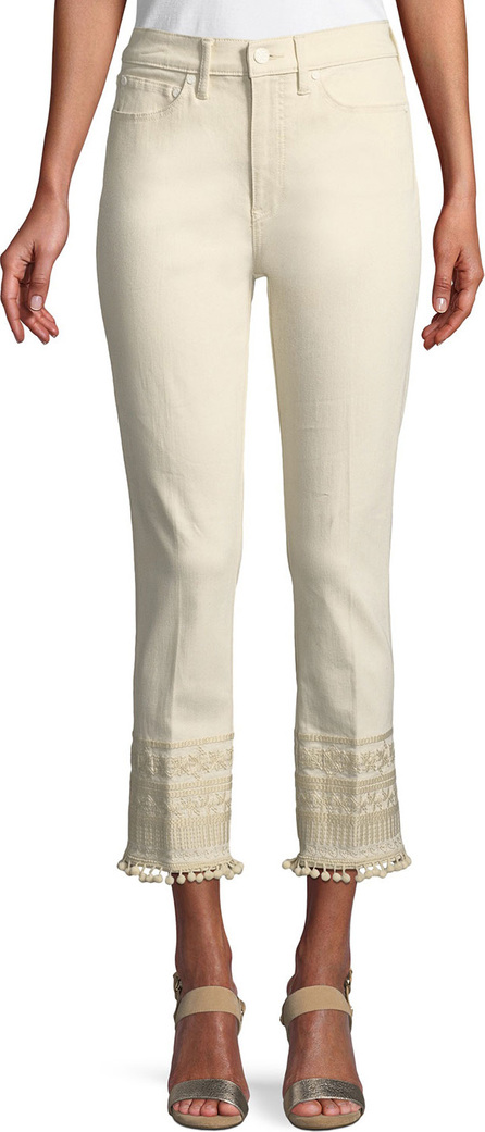 Tory Burch Lana Pompom Embroidered-Cuff Ankle Jeans