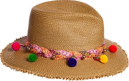 Eric Javits Corfu Woven Sun Hat w/ Braided Pompom Detail