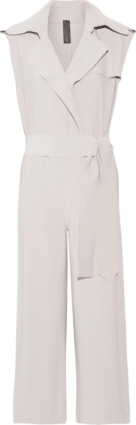 Norma Kamali Wrap-effect cropped cady jumpsuit
