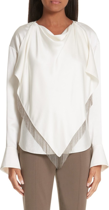 Alexander Wang Chain Fringe Scarf Detail Silk Blouse