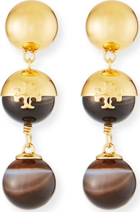 Tory Burch Logo Linear Bead Drop Earrings with Agate