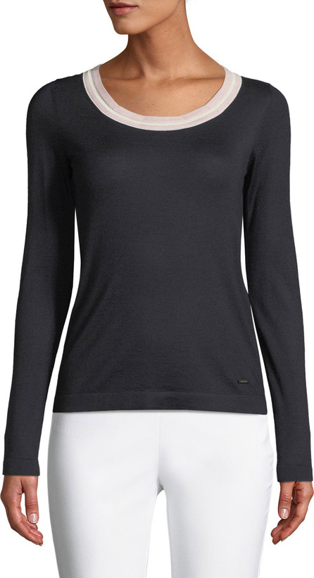 Akris Striped-Trim Round-Neck Long-Sleeve Cashmere-Silk Top
