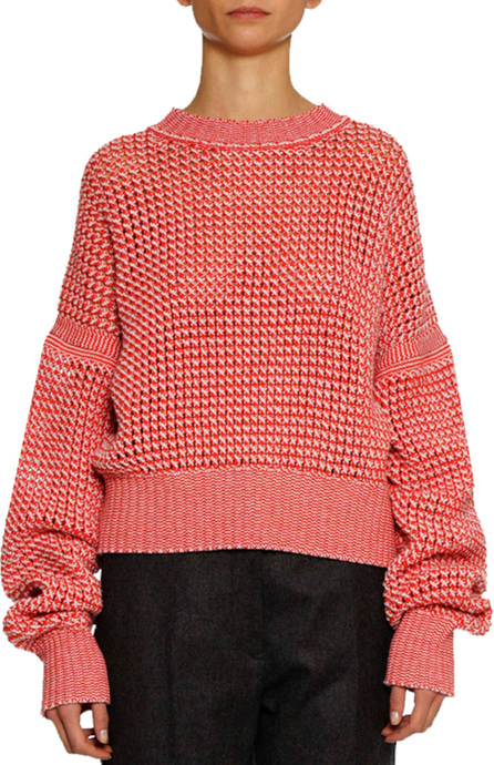 Crewneck Long-Sleeve Open-Weave Tweed Pullover Cashmere-Wool Sweater