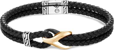 John Hardy 'Asli Classic Chain' rhodium silver 18k yellow gold leather bracelet