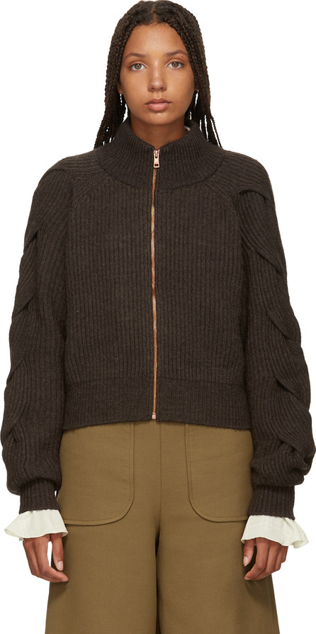 See By Chloé Brown Bomber Sweater