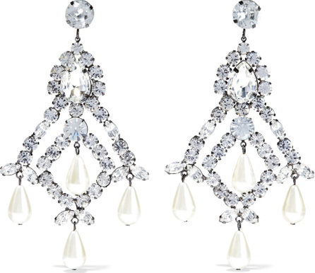 Kenneth Jay Lane Gunmetal-tone, faux pearl and crystal earrings