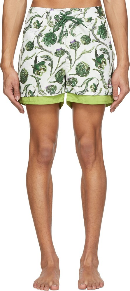 Jacquemus Green 'Le Double' Swim Shorts