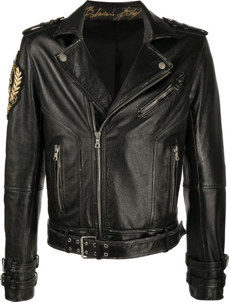 Balmain Logo-patch biker jacket
