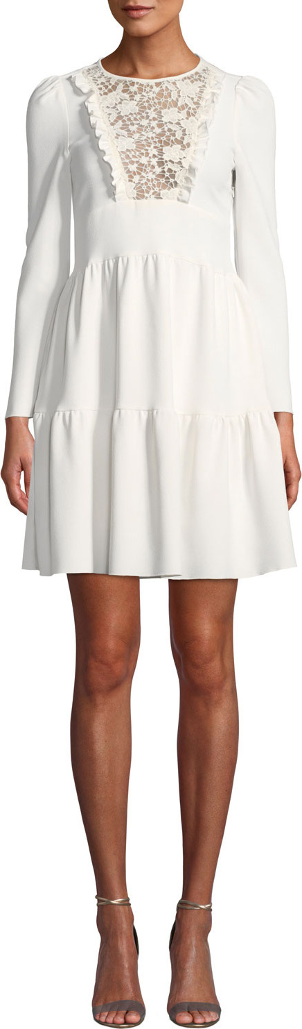 See By Chloé Short Long-Sleeve Lace Tiered Dress
