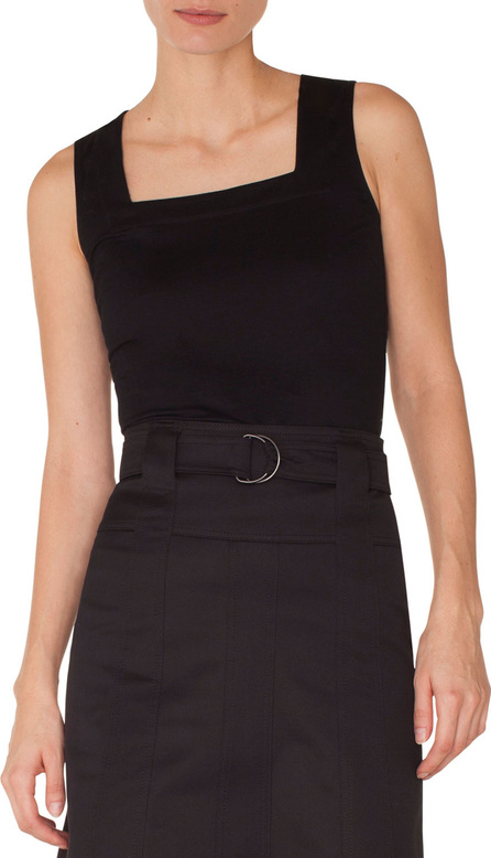 Akris Punto Square-Neck Signature-Dot Jersey Knit Top